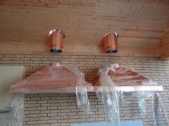 Монтаж медных вытяжных зонтов. Этап 3