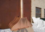 Дизайнерский вытяжной зонт из меди для установки над мангалом