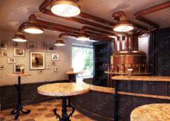Медные воздуховоды, светильники, емкость для пива в оформлении зала ресорана