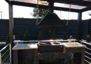 Изготовление и монтаж дымосборника в загородной открытой беседке