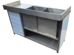 Стол-купе сосдвоенной мойкой, нержавеющая сталь