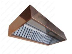 Вытяжной пристенный зонт ТИП 3 с медной отделкой