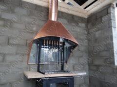 Вытяжной зонт из нержавеющей стали и меди модель Версаль-3 в комплекте с двухконтурным дымоходом и дефлектором